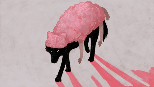 Μαύρος λύκος ντυμένος σαν ροζ πρόβατο